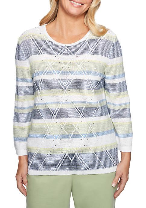 Alfred Dunner Greenwich Hills Textured Stripe Sweater
