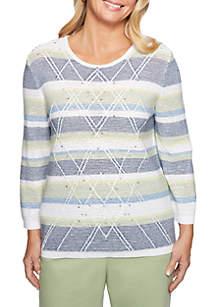 Greenwich Hills Textured Stripe Sweater