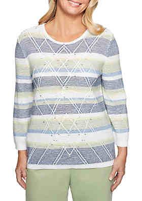 964a5fc9f8a23 Alfred Dunner Greenwich Hills Textured Stripe Sweater ...