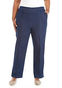 Plus Size Proportioned Medium Denim Pants