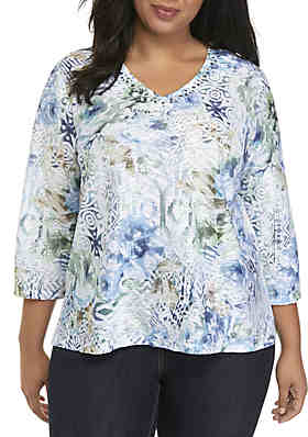 5f6079cb038 Alfred Dunner Plus Size Textured Floral Top ...