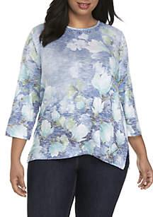 Plus Size Watercolor Floral Top