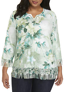 Plus Size Watercolor Sweater with Fringe