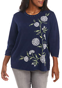Plus Size Floral Knit Sweater