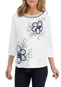 Petite Floral Knit Top