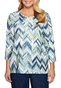 Petite Greenwich Hills Zig Zag Knit Top