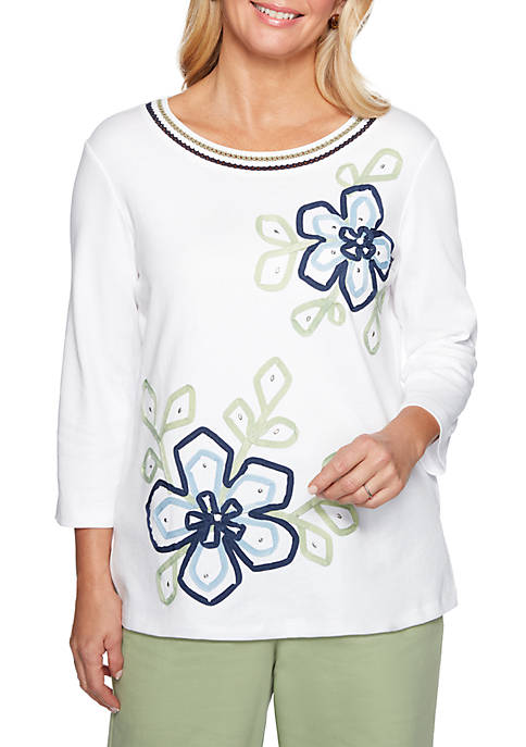 Alfred Dunner Petite Greenwich Hills Floral Knit Top