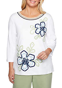 Petite Greenwich Hills Floral Knit Top