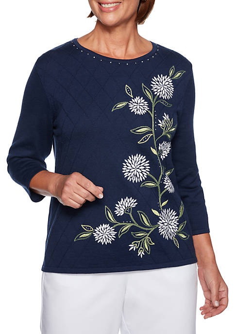 Alfred Dunner Petite Greenwich Hills Asymmetric Floral Sweater