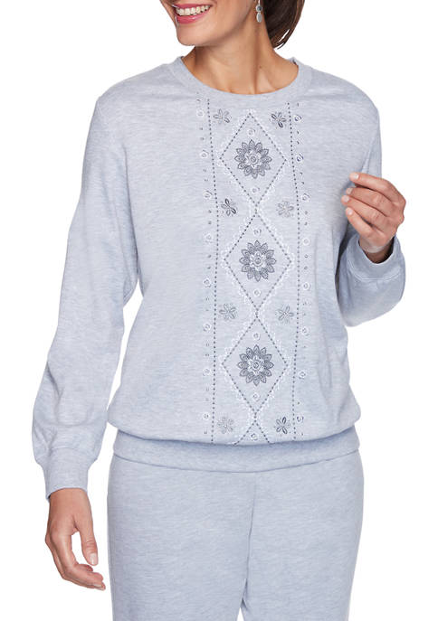 Womens Relaxed Attitude Embroidered French Terry Knit Top