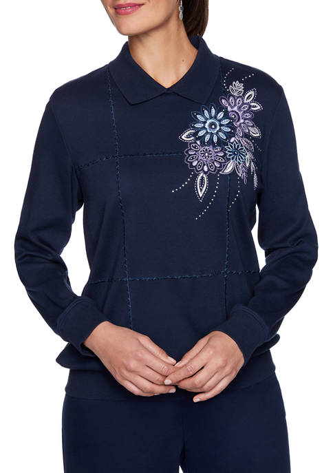 Alfred Dunner Womens Relaxed Attitude Collared Embroidered Knit
