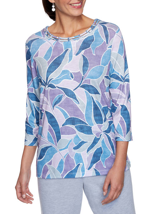 Plus Size Relaxed Attitude Stained Glass Print Top