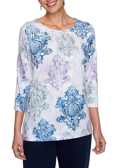 Alfred Dunner Plus Size Relaxed Attitude Medallion Print