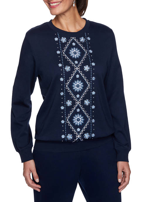 Alfred Dunner Petite Relaxed Attitude Center Embroidered Top