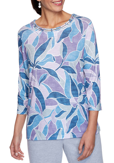 Alfred Dunner Petite Relaxed Attitude Stained Glass Top