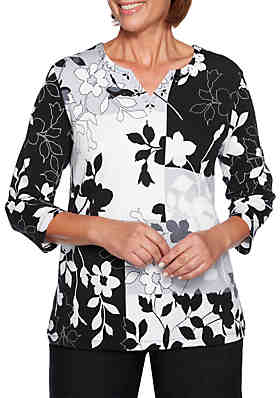 f61769767391a Alfred Dunner Grand Boulevard Floral Patchwork Knit Top ...
