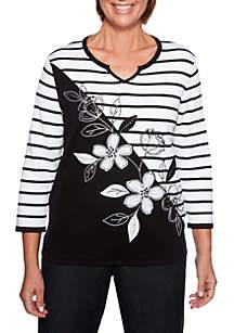 Grand Boulevard Stripe Floral Sweater