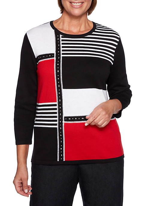 Alfred Dunner Grand Boulevard Stripe Colorblock Sweater