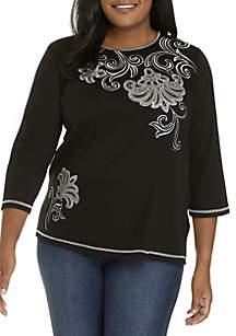 Plus Size Asymmetrical Scroll Knit Top