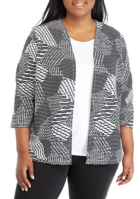 Alfred Dunner Plus Size Textured 2Fer Top