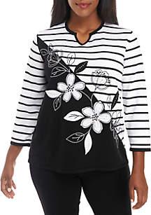 Plus Size Floral Stripe Sweater