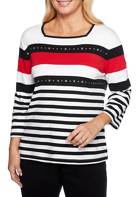 Petite Grand Boulevard Stripe Knit Top