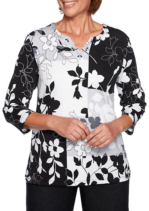 Alfred Dunner Grand Boulevard Petite Floral Patchwork Knit