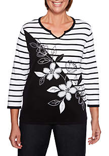 Alfred Dunner Grand Boulevard Petite Stripe Floral Sweater