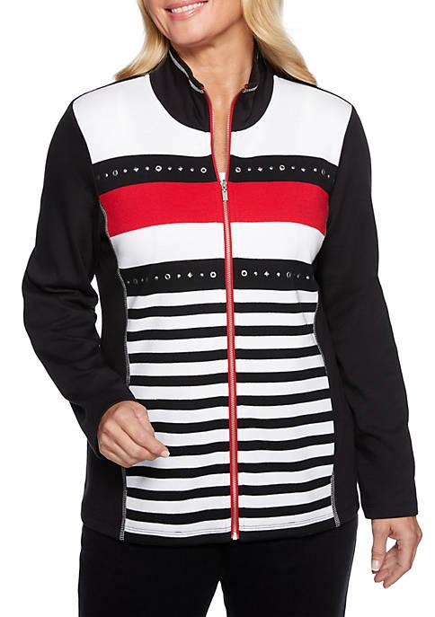 Alfred Dunner Petite Grand Boulevard Stripe 2Fer Jacket