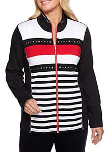 Petite Grand Boulevard Stripe 2Fer Jacket