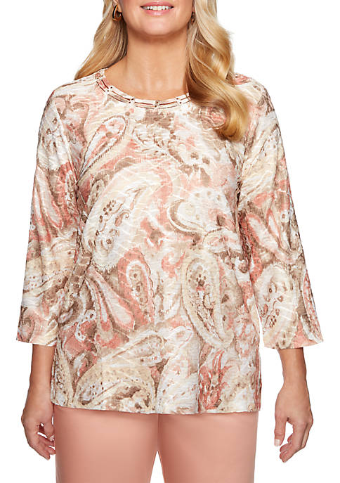 Alfred Dunner Good To Go Textured Paisley Knit
