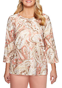 Good To Go Textured Paisley Knit Top