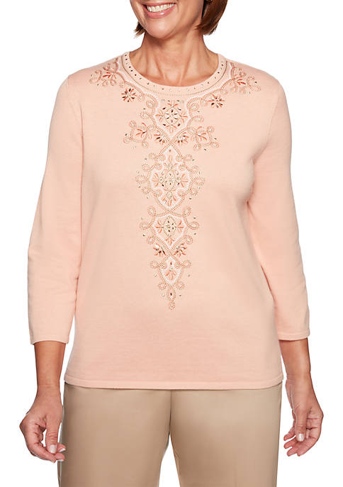 Alfred Dunner Good To Go Embroidered Medallion Sweater
