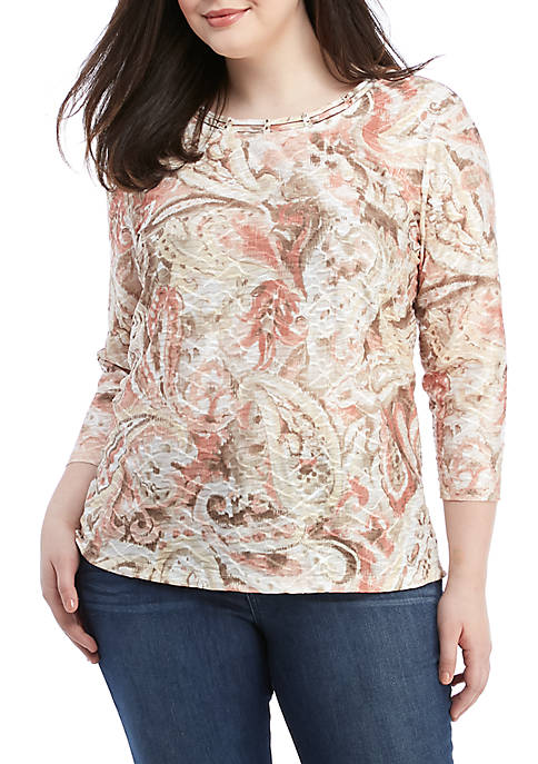 Plus Size Textured Paisley Knit Top