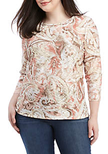 Alfred Dunner Plus Size Textured Paisley Knit Top