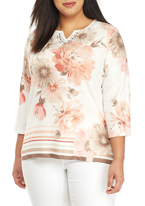 Alfred Dunner Plus Size Floral 3/4 Sleeve Top