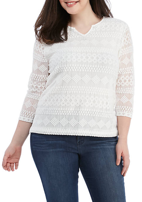 Plus Size Solid Lace Knit Top