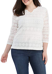 Alfred Dunner Plus Size Solid Lace Knit Top