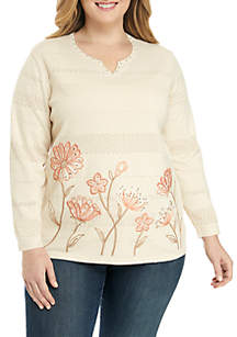 Alfred Dunner Plus Size Bordered Floral Sweater