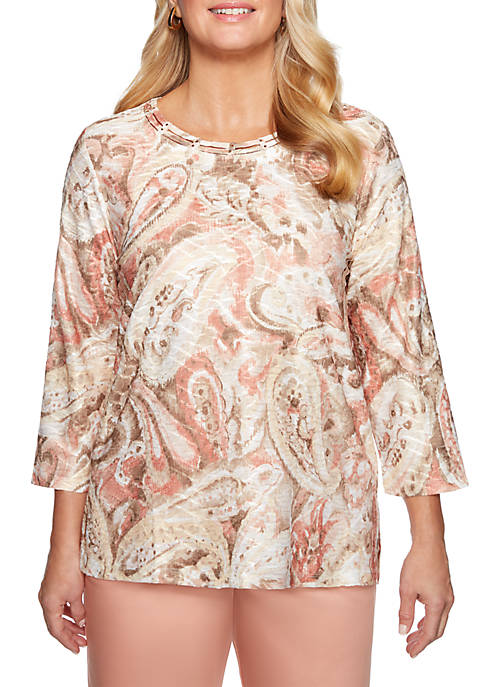 Alfred Dunner Petite Good To Go Textured Paisley
