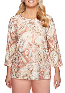 Alfred Dunner Petite Good To Go Textured Paisley Knit Top