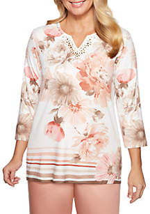 Alfred Dunner Petite Good To Go Floral Border Knit Top