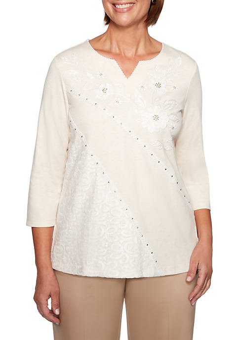 Alfred Dunner Petite Good To Go Asymmetrical Lace