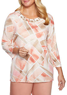 Alfred Dunner Petite Good To Go Stained Glass Knit Top