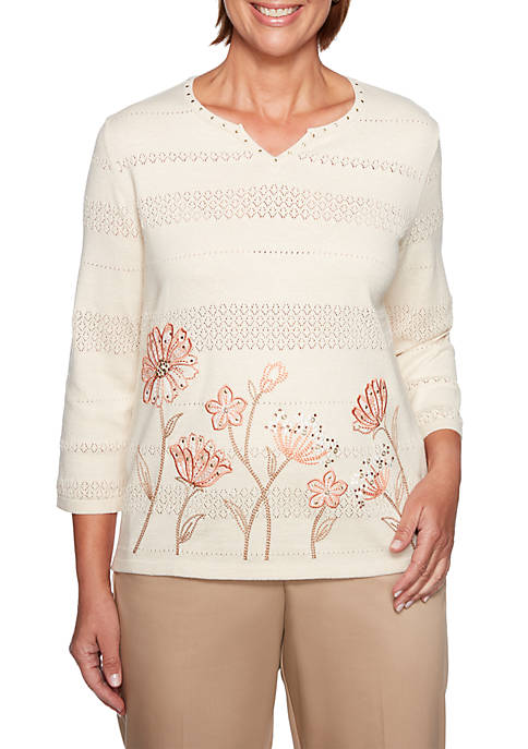 Alfred Dunner Petite Good To Go Border Floral