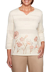 Petite Good To Go Border Floral Sweater