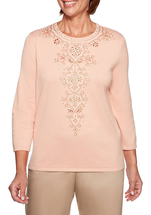 Alfred Dunner Petite Good To Go Embroidered Medallion