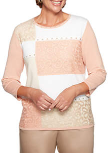 Alfred Dunner Petite Good To Go Colorblock Lace Sweater