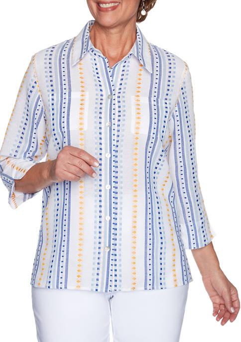 Womens Lazy Daisy Dobby Stripe Shirt