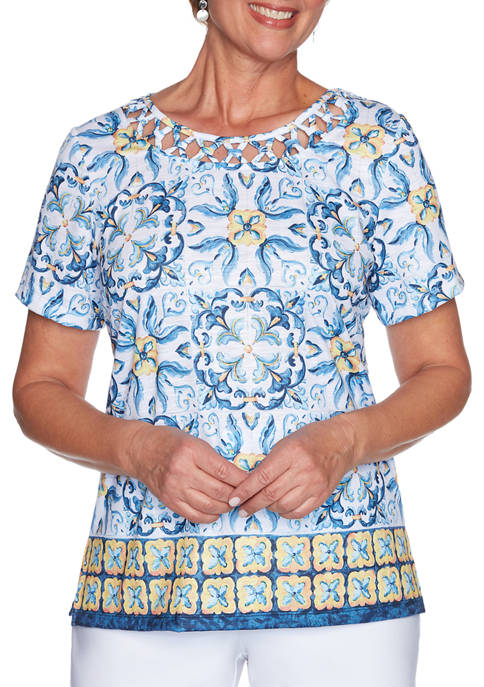 Alfred Dunner Womens Lazy Daisy Border Medallion Print